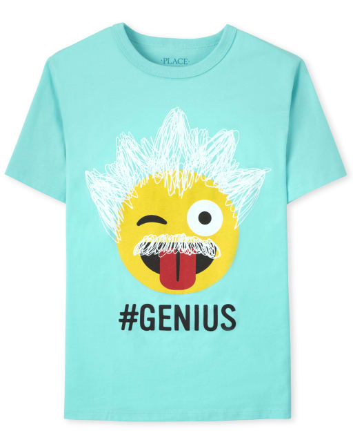 Boys Short Sleeve 'Hashtag Genius' Emoji Graphic Tee