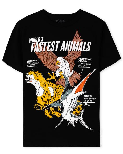 Boys Short Sleeve 'World's Fastest Animals' Graphic Tee