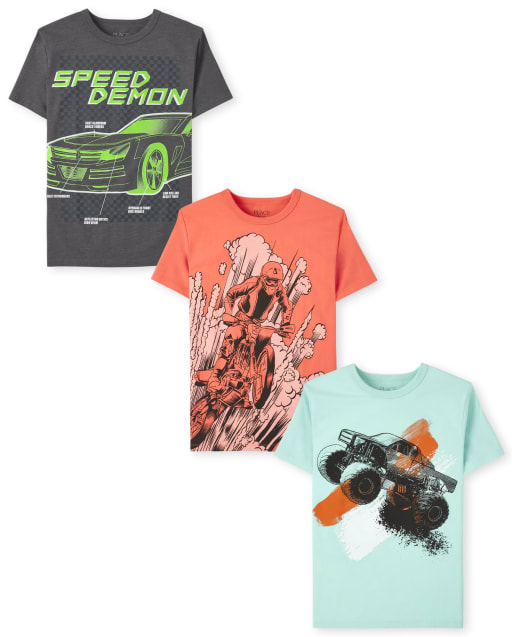 Pack de 3 camisetas estampadas Cars para niños