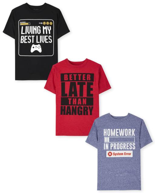 Pack de 3 camisetas con gráfico Humor para niños