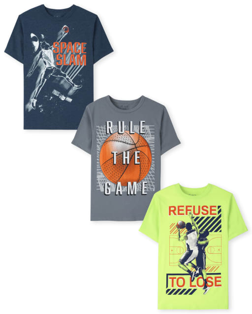 Boys Short Sleeve Basketball Graphic Tee 3-Pack