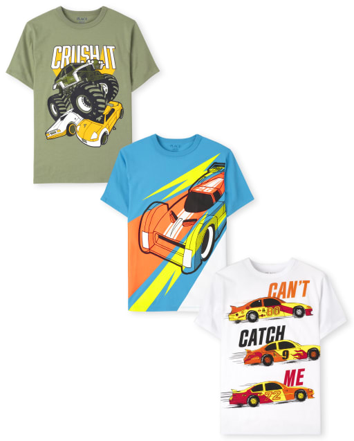 Boys Short Sleeve Cars Graphic Tee 3-Pack