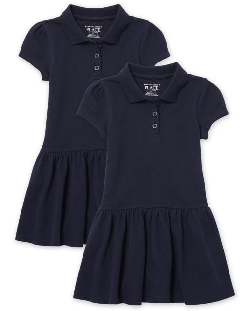 Vestido tipo polo de piqué con volantes y uniforme para niñas pequeñas, paquete de 2