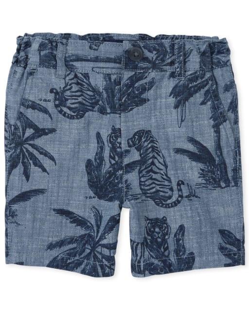 Shorts chinos tejidos con estampado de palmeras para bebés y niños pequeños