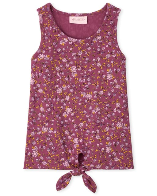 Girls Sleeveless Floral Print Ribbed Tie Front Tank Top