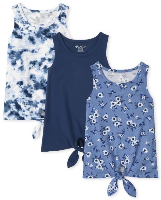 Pack de 3 camisetas sin mangas sin mangas con lazo en la parte delantera para niñas