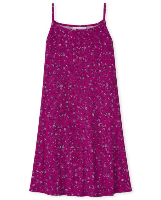 Girls Sleeveless Floral Print Knit Ribbed Cami Dress
