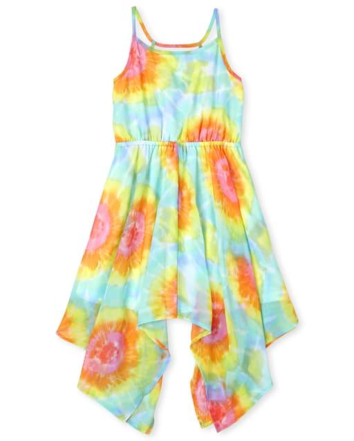 Vestido sin mangas con dobladillo de tiburón tejido con efecto tie dye arcoíris para niñas