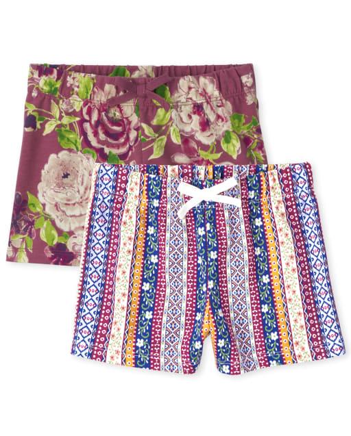 Pack de 2 pantalones cortos de punto con estampado Mix And Match para niñas
