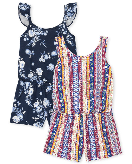 Pack de 2 mamelucos de punto floral y a rayas sin mangas para niñas
