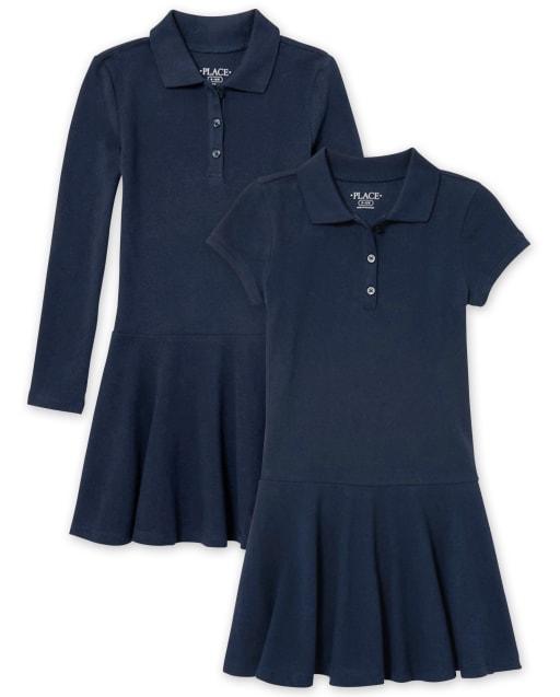 Paquete de 2 vestidos tipo polo de piqué de uniforme para niñas