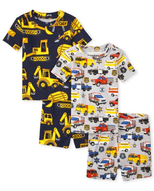 Paquete de 2 pijamas de algodón ajustados de transporte de manga corta para bebés y niños pequeños