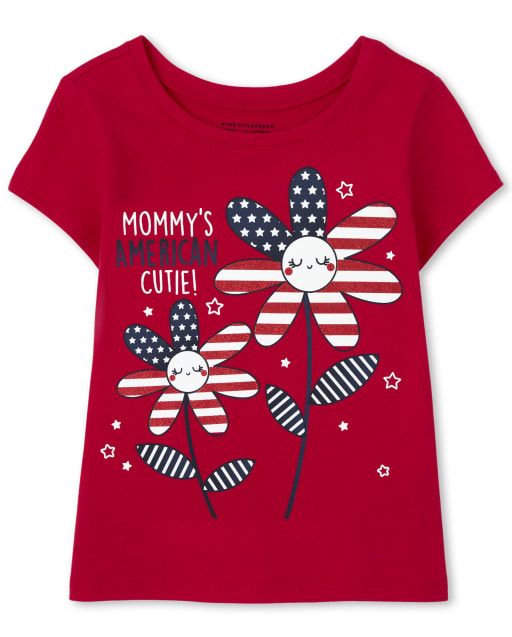 Baby And Toddler Girls Short Sleeve Americana Mommy's American Cutie Graphic Tee