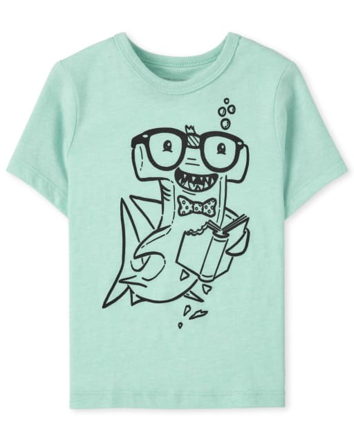 Baby And Toddler Boys Short Sleeve Reading Shark Graphic Tee