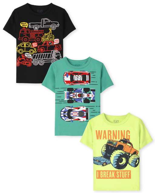 Toddler Boys Short Sleeve Cars Graphic Tee 3-Pack