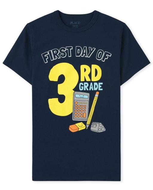 Camiseta estampada de manga corta para niños ' Primer día del tercer grado '