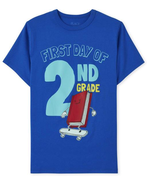 Camiseta estampada de manga corta para niños ' Primer día del segundo grado '