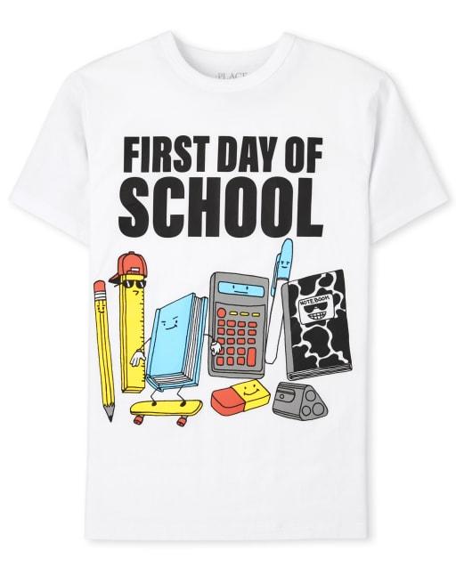 Camiseta estampada de manga corta para niños ' Primer día de clases '