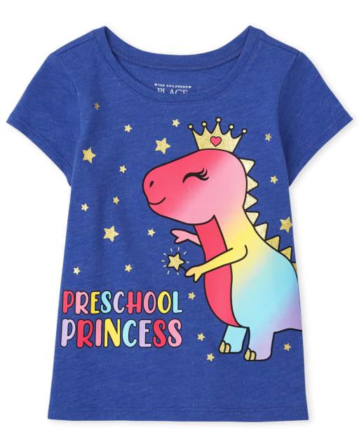 Baby And Toddler Girls Short Sleeve 'Preschool Princess' Dino Graphic Tee