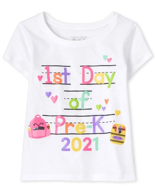 Camiseta estampada de manga corta para bebés y niñas pequeñas ' 1er día de prekínder '