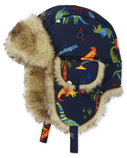 Toddler Boys Dino Print Trapper Hat