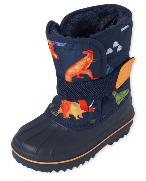 Toddler Boys Dino Print Snow Boots