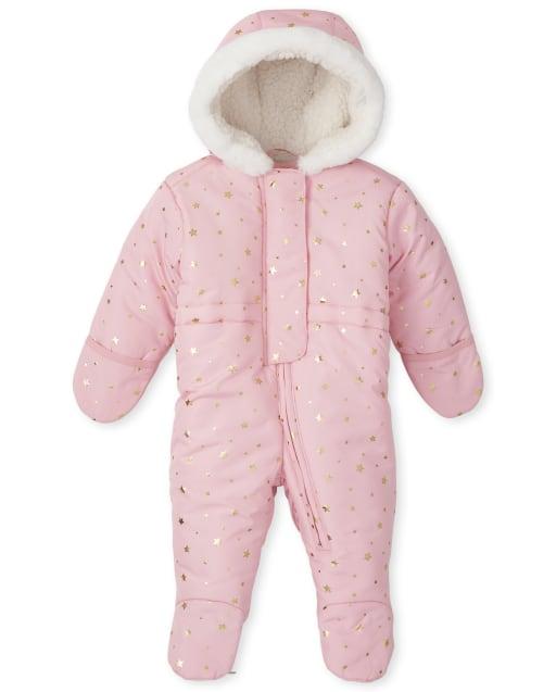 Baby Girls Long Sleeve Faux Fur Hooded Snowsuit
