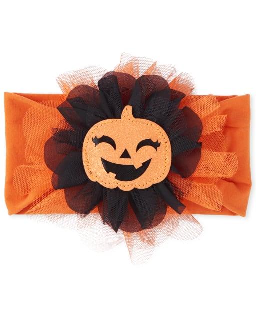 Baby Girls Glitter Pumpkin Halloween Headwrap