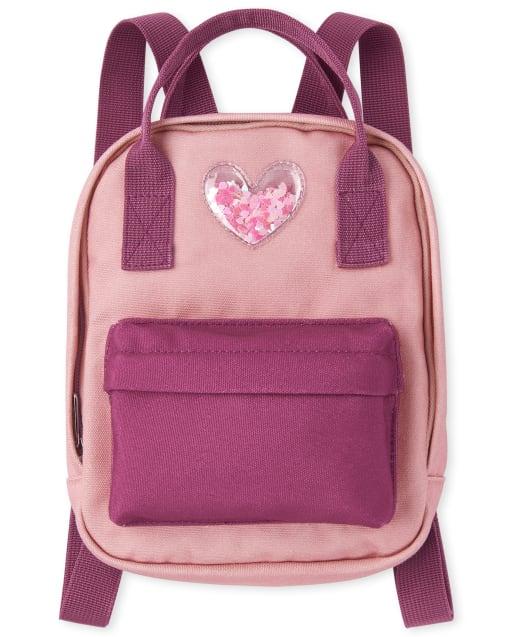 Girls Confetti Shaker Heart Mini Backpack