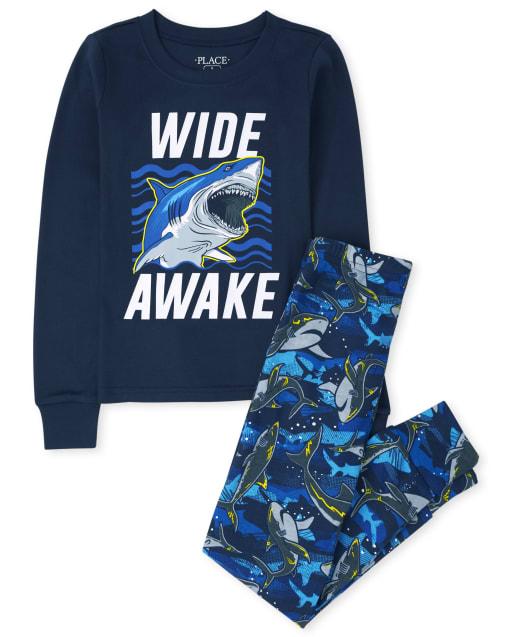 Boys Long Sleeve 'Keep It Sharp' Shark Snug Fit Cotton Pajamas