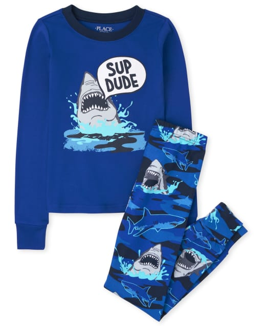 Boys Long Sleeve 'Sup Dude' Shark Snug Fit Cotton Pajamas