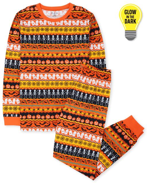 Unisex Adult Matching Family Long Sleeve Glow In The Dark Halloween Fairisle Cotton Pajamas