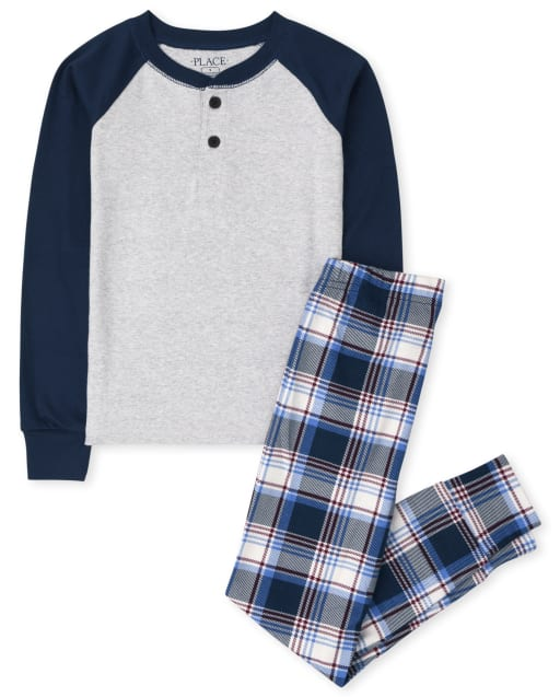 Boys Long Sleeve Raglan Plaid Snug Fit Cotton Pajamas