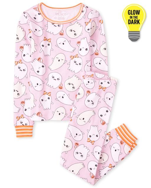 Girls Halloween Long Sleeve Glow In The Dark Ghosts Print Snug Fit Cotton Pajamas