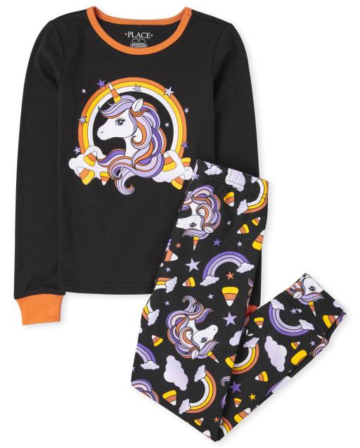 Girls Halloween Long Sleeve Unicorn Snug Fit Cotton Pajamas