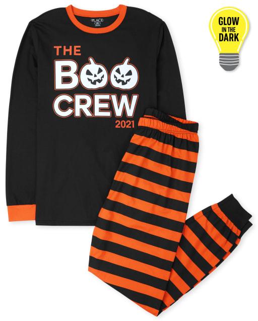 Unisex Adult Halloween Long Sleeve Glow In The Dark Boo Crew Cotton Pajamas