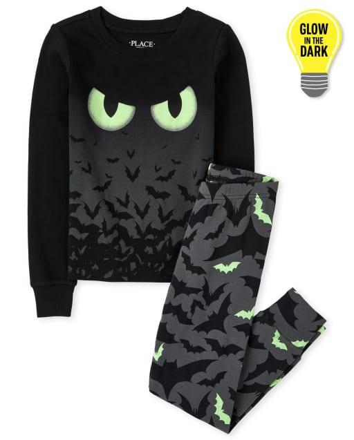 Unisex Kids Halloween Long Sleve Glow In The Dark Bats Snug Fit Cotton Pajamas