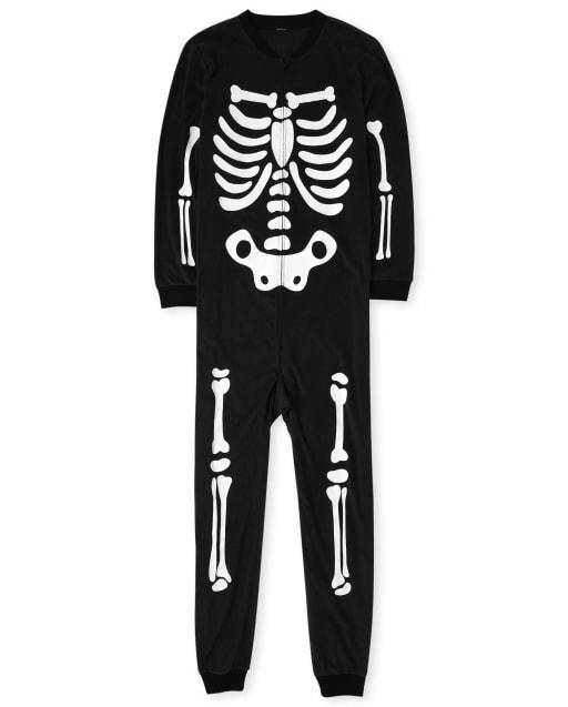 Unisex Adult Matching Family Halloween Long Sleeve Glow In The Dark Skeleton Fleece Hooded One Piece Pajamas
