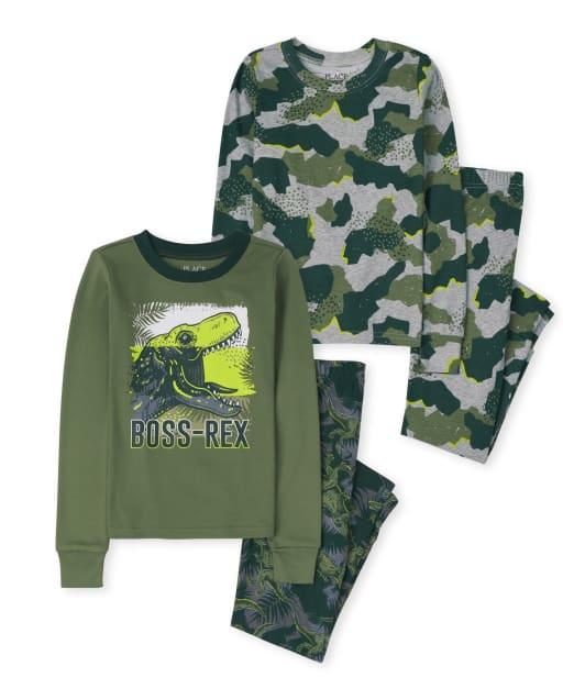 Paquete de 2 pijamas de algodón con diseño de camuflaje de dinosaurio de manga larga para niños