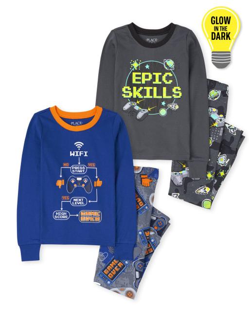 Paquete de 2 pijamas de algodón ajustados ajustados de manga larga para videojuegos para niños