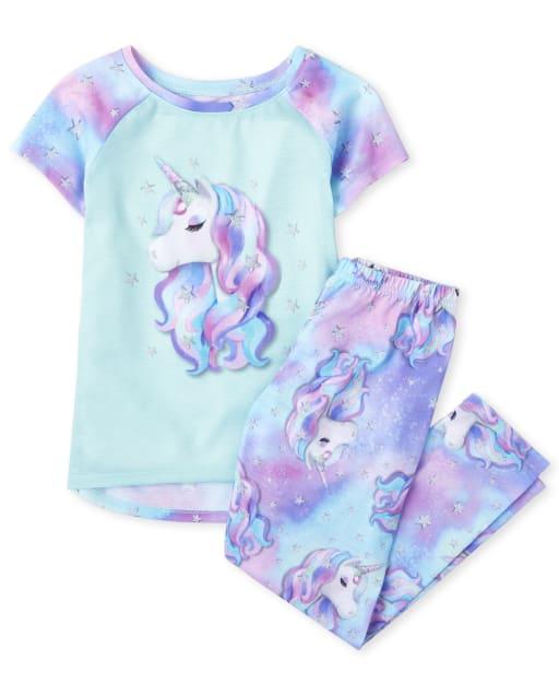 Girls Short Sleeve Tie Dye Unicorn Pajamas