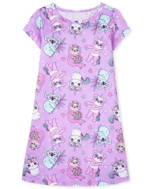Girls Short Sleeve Squishy Crittercorn Nightgown
