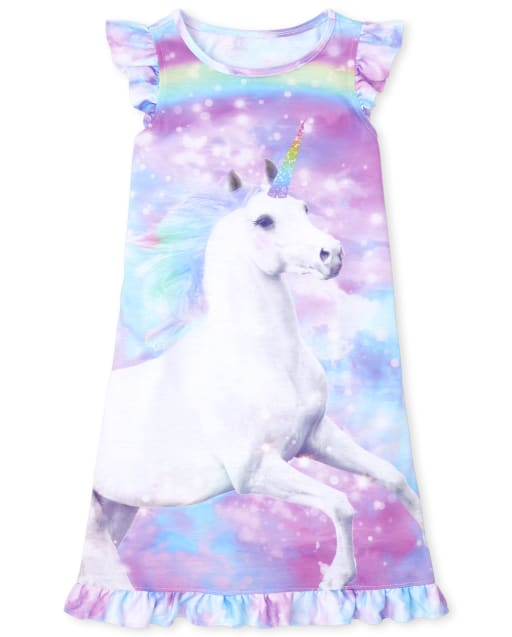 Girls Short Sleeve Unicorn Ruffle Nightgown
