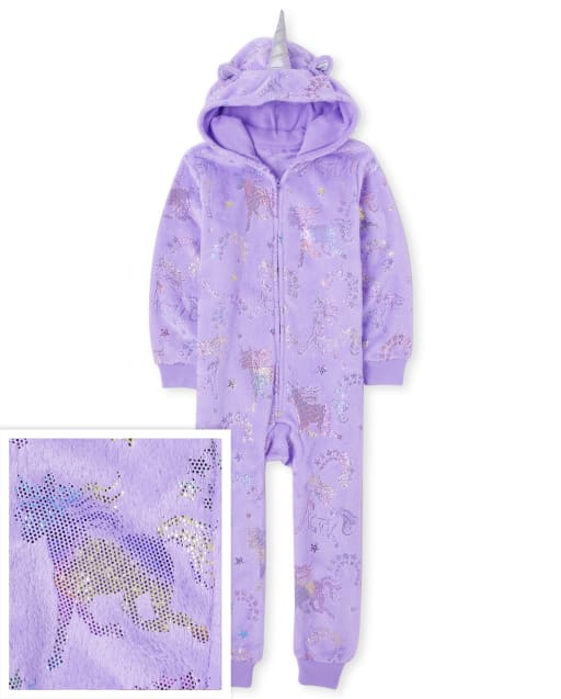 GIrls Mommy And Me Long Sleeve Unicorn Fleece One Hooded Matching Piece Pajamas