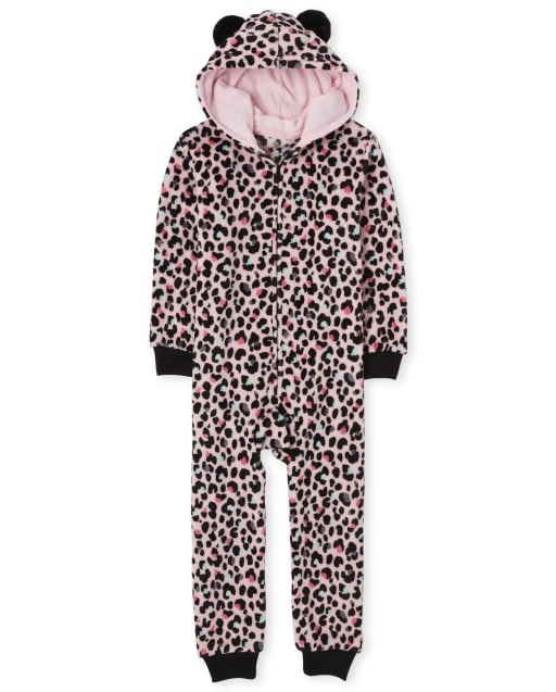 Girls Mommy And Me Long Sleeve Leopard Print Fleece Hooded Matching One Piece Pajamas