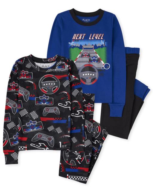Paquete de 2 pijamas de algodón con ajuste ceñido y manga larga para niños