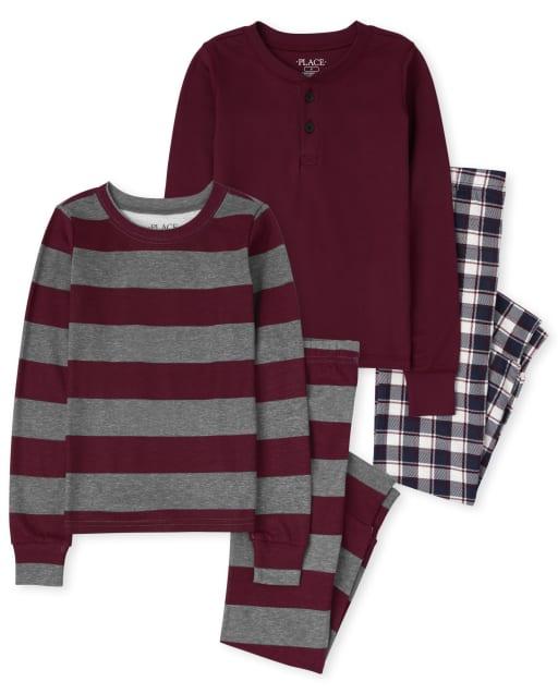 Paquete de 2 pijamas de algodón con ajuste ceñido a rayas a cuadros de manga larga para niños