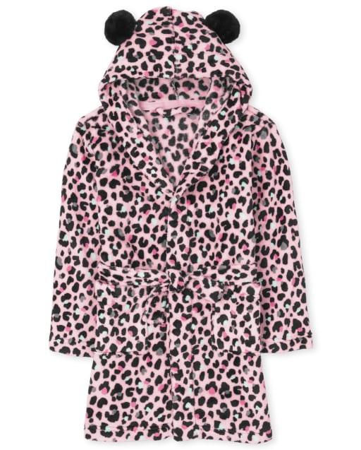 Girls Long Sleeve Leopard Fleece Robe