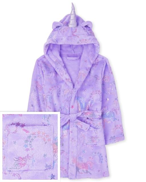 Girls Long Sleeve Unicorn Fleece Robe