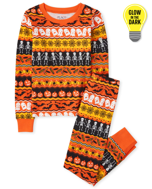 Unisex Kids Matching Family Long Sleeve Glow In The Dark Halloween Fairisle Snug Fit Cotton Pajamas